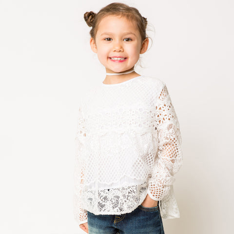 Long Sleeve Lace Blouse for Girls