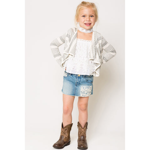 Variegated Stripe Open Front Cardigan for Girls