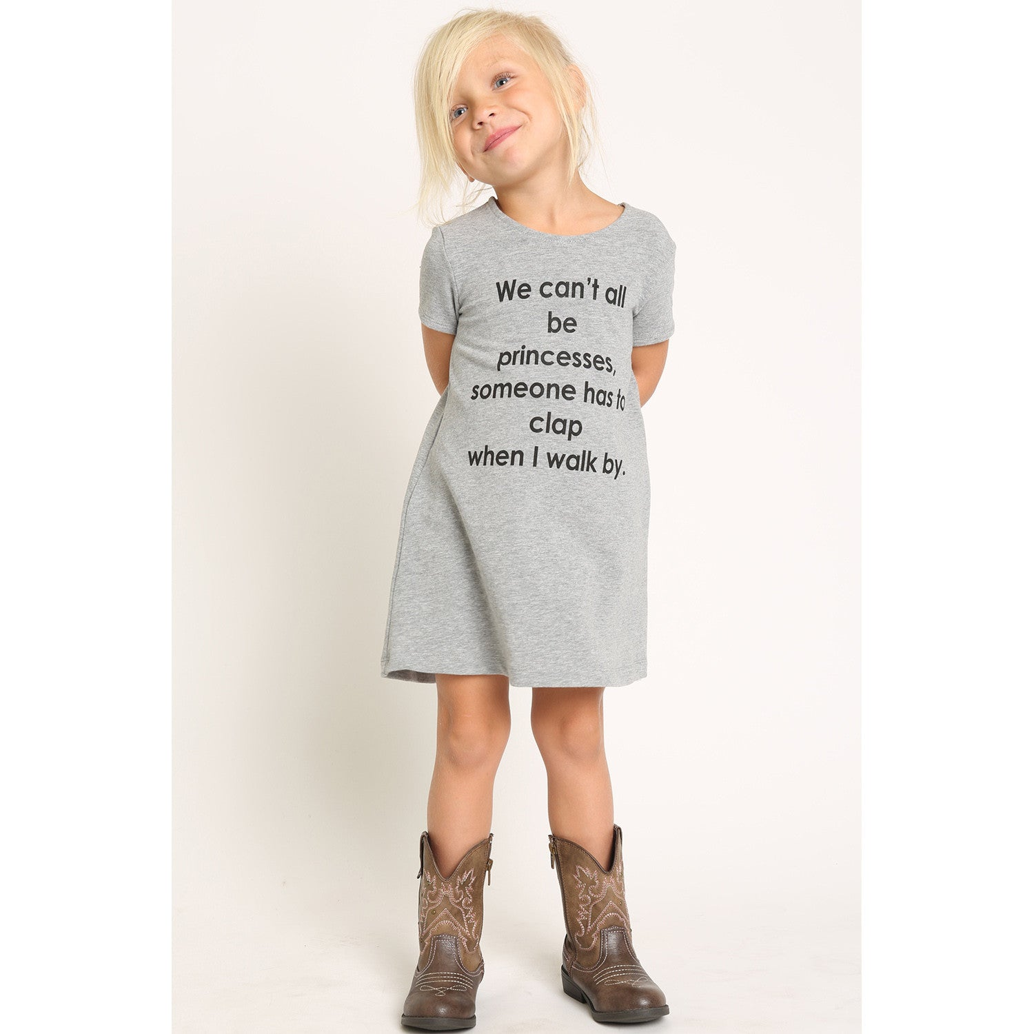 "French Terry T-Shirt Dress for Girls ""We can"
