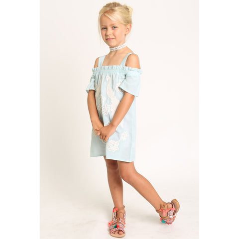 Peacock Embroidery Cold Shoulder Dress for Girls