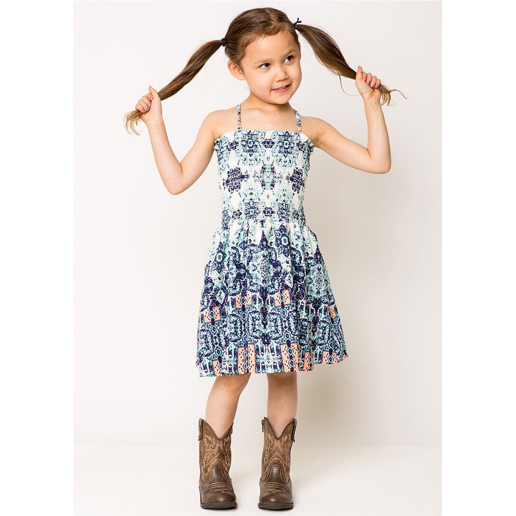 Border Print Smock Dress For Girls