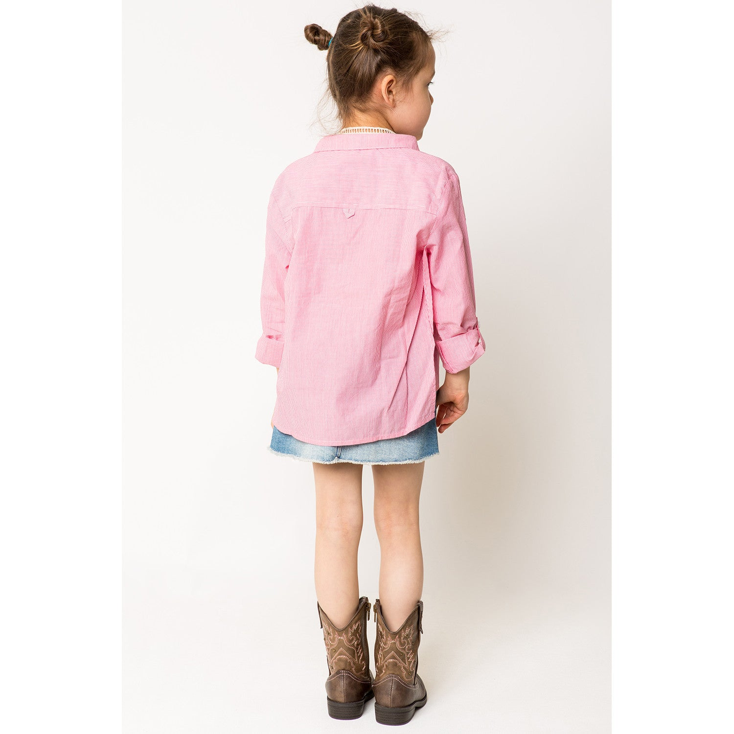Floral Embroidery Collar Shirt w/ Side Slit for Girls