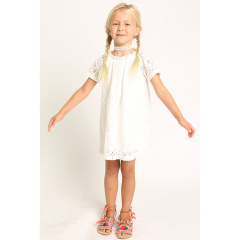 Short Sleeve Lace Peasant Dress for Girls