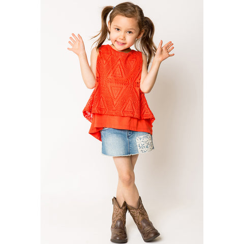 Hi/Lo Split Back Lace Overlay Tank Top for Girls