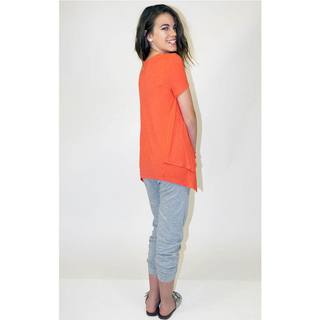 Short Sleeve Side Tail Top For Girls