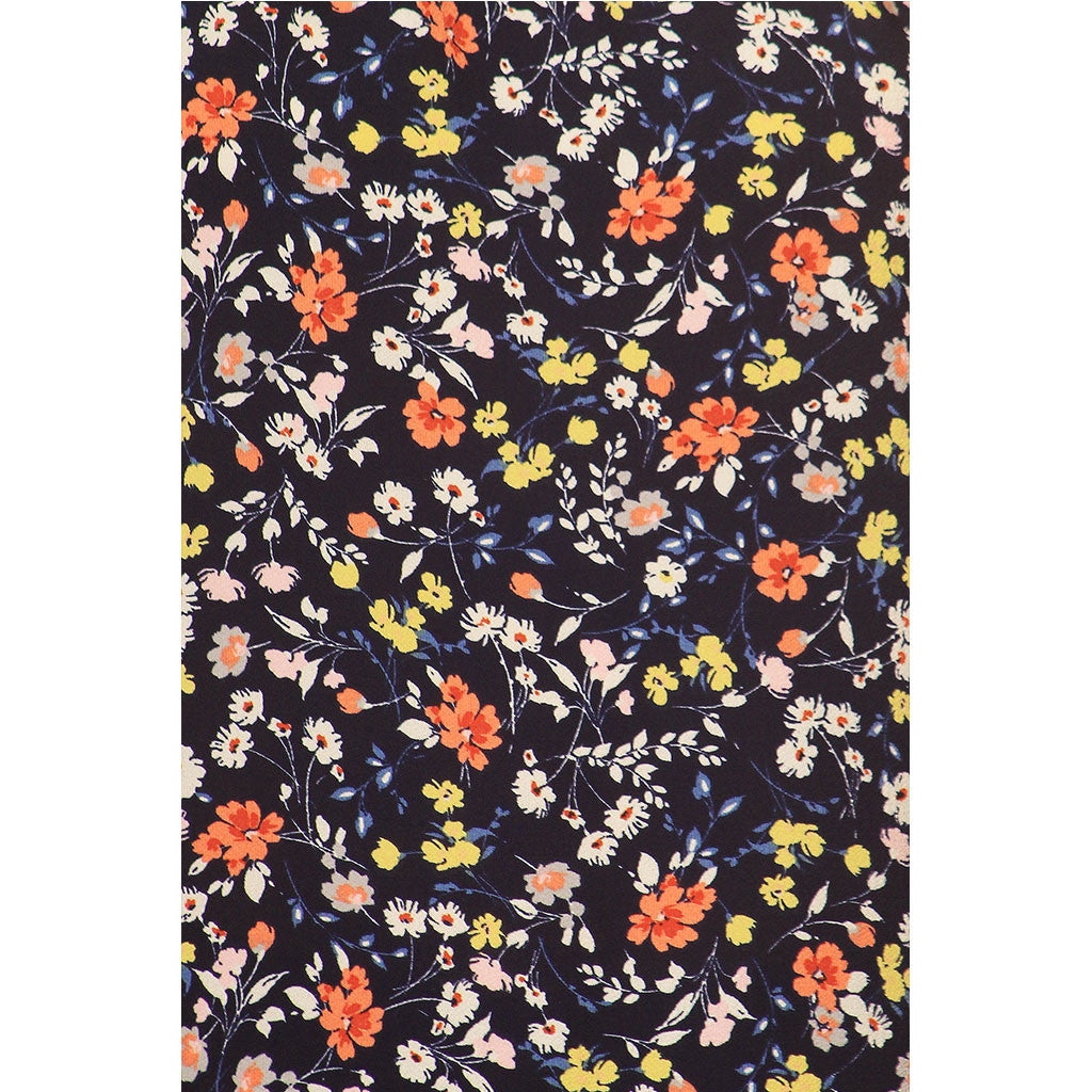 Navy Ditsy Floral Cold Shoulder Dress For Girls