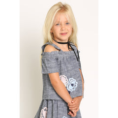 Floral Embroidery Cold Shoulder Chambray Top for Girls