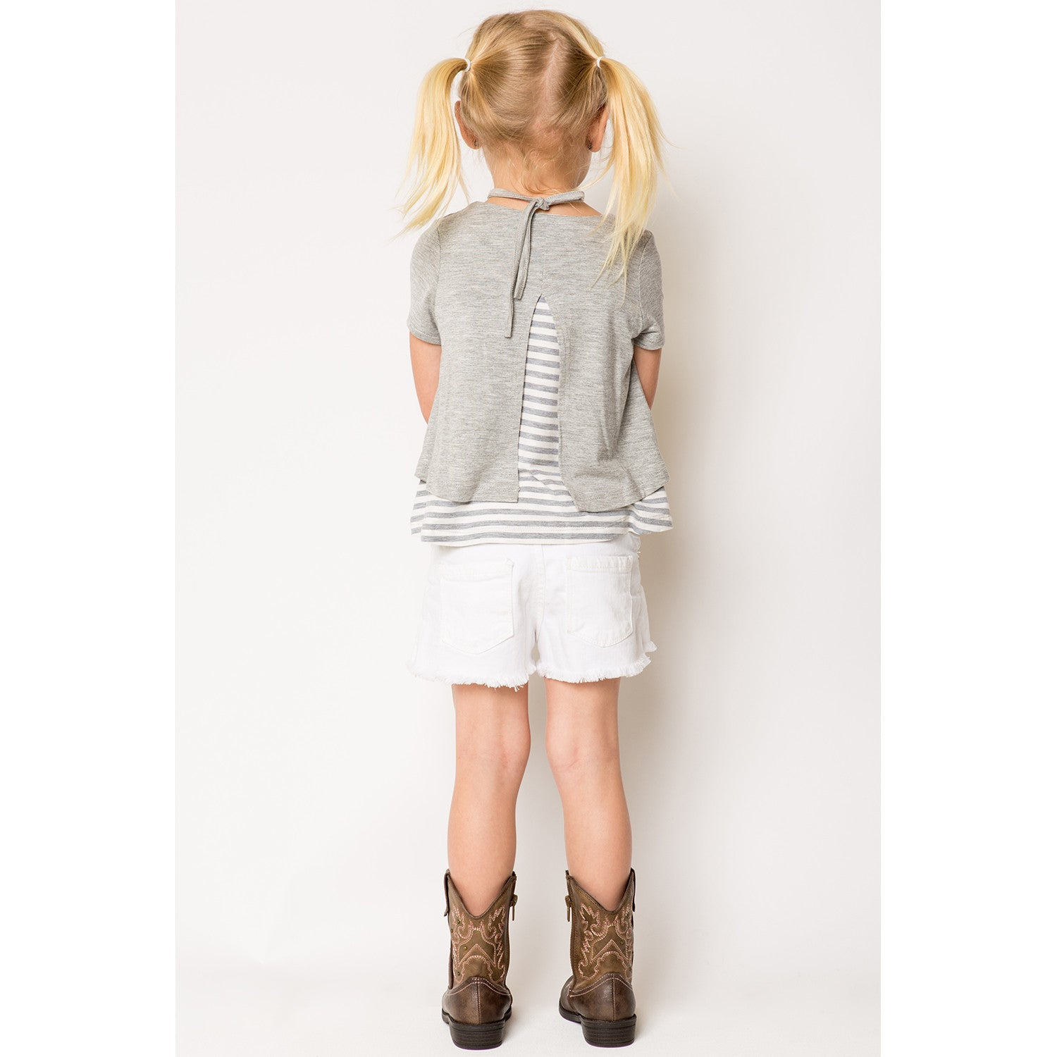 Mixed Media Split Back Stripe Contrast Top for Girls