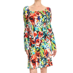 Multi Floral Long Sleeve Smock Dress