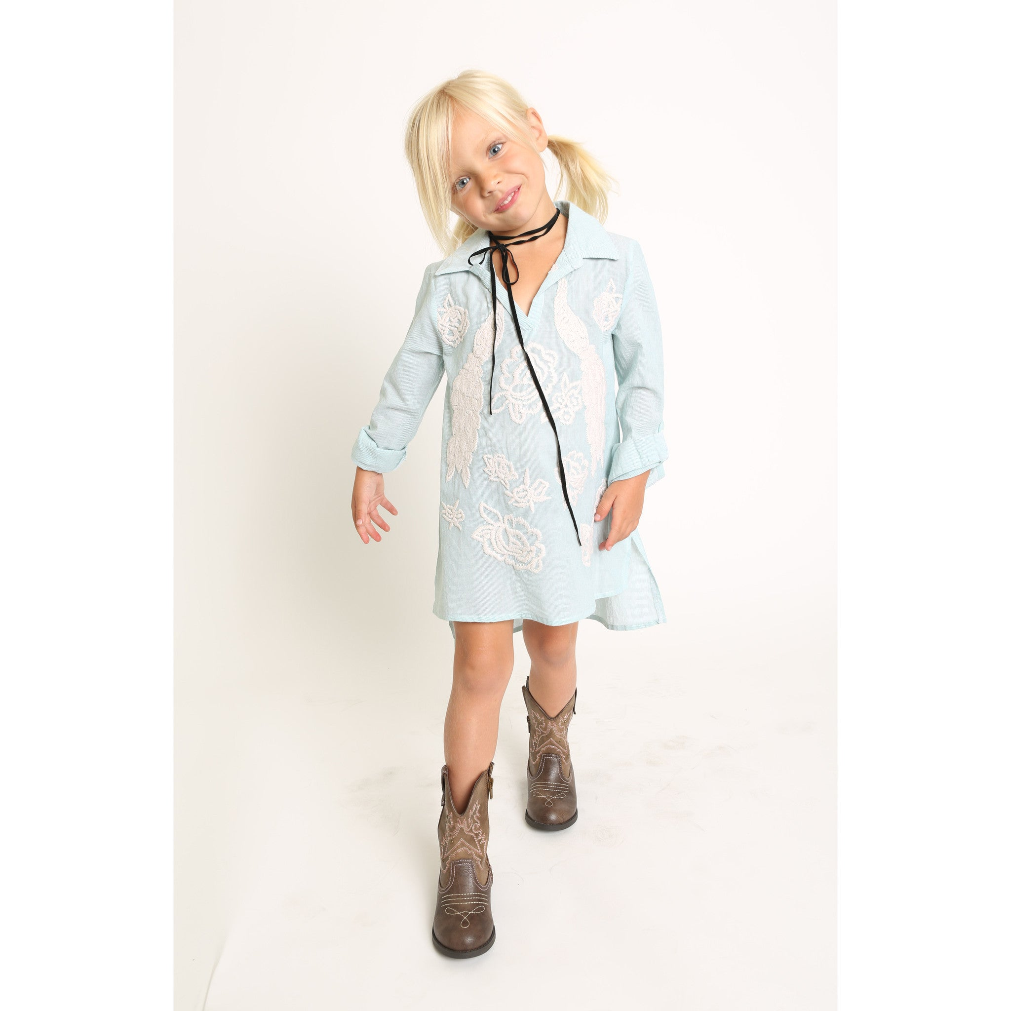 Peacock Embroidery Collar Shirt Dress for Girls