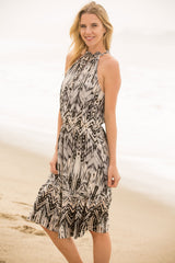 Border Print Blouson Dress