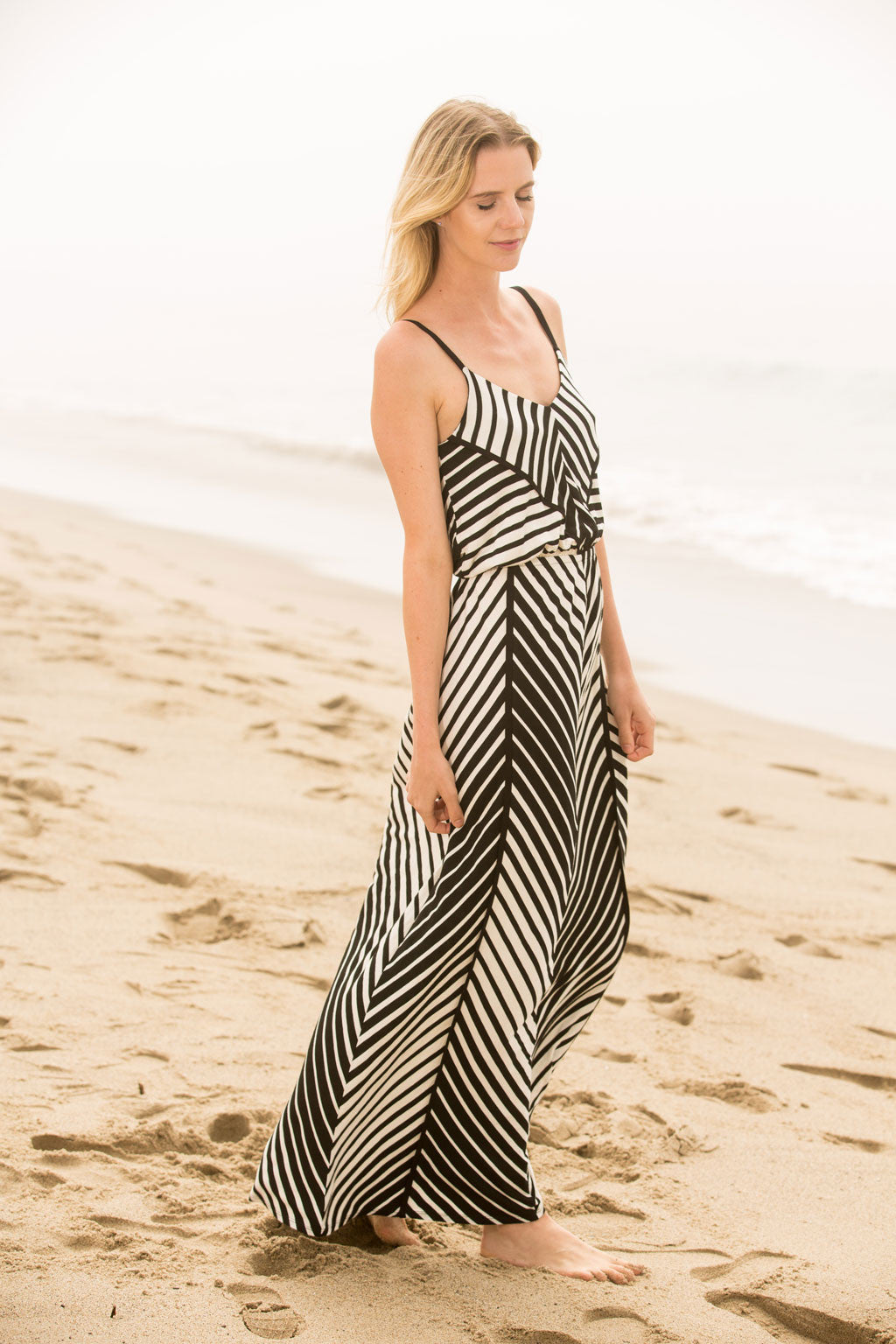 Engineered Stripe Strappy Maxi Dress