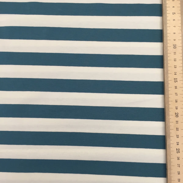 Petrol and White 2x2 stripe organic cotton jersey (by the half metre)