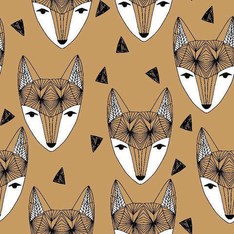 Fox Head Lion Brown organic cotton jersey (by the half metre)