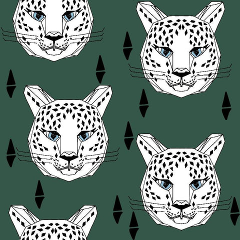 Leopard Hunters Green organic cotton sweatshirting (by the half metre)