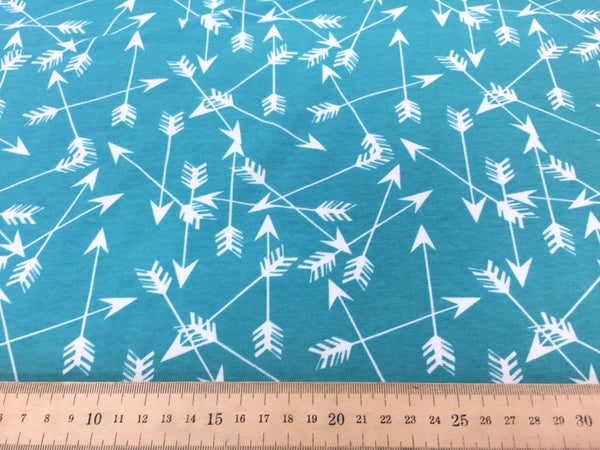 Arrows Tiffany Blue organic cotton jersey (by the half metre)