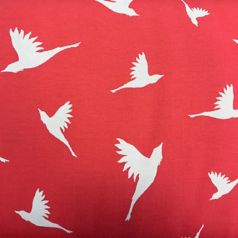 Birds coral cotton lycra interlock (by the half metre)