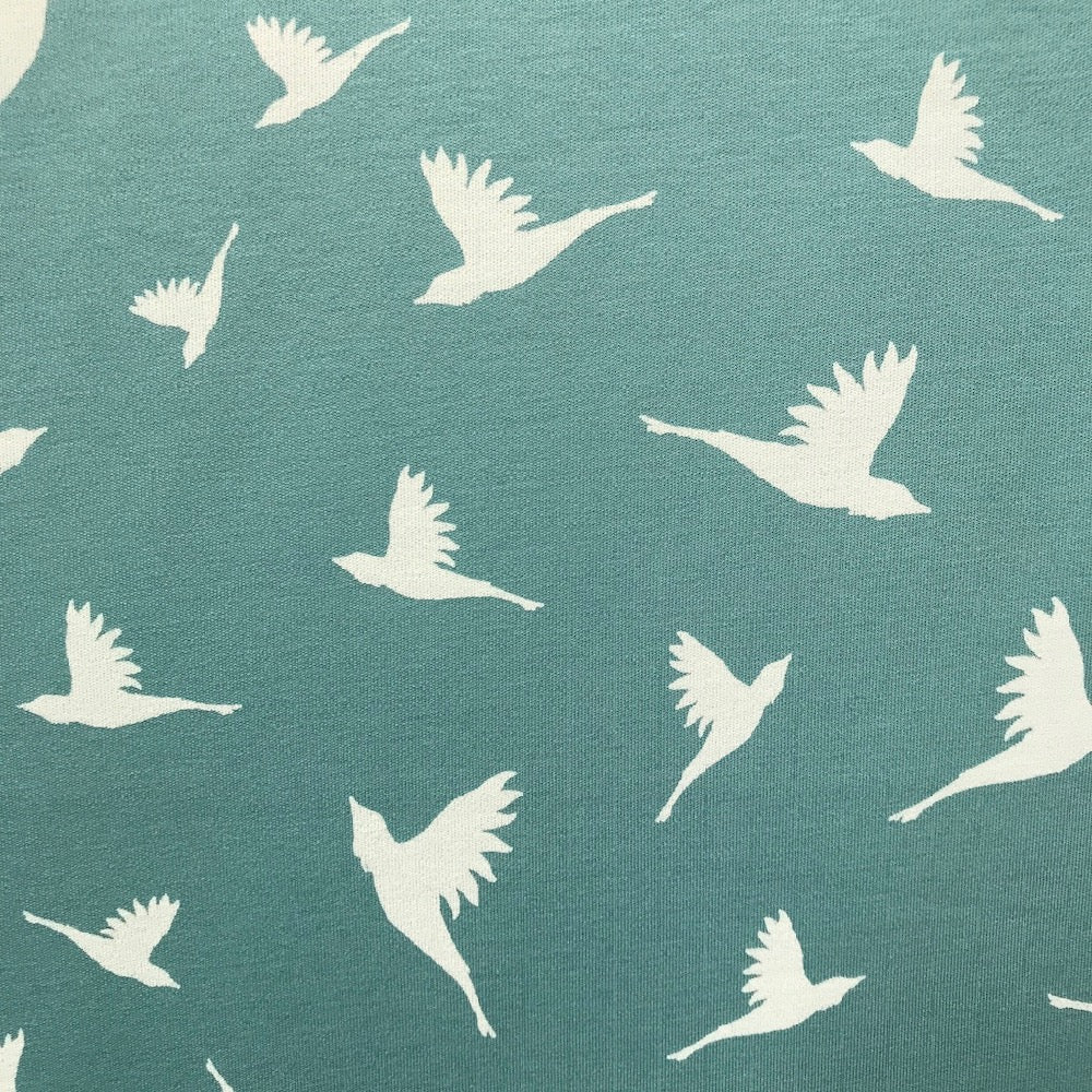 Birds mint green cotton lycra interlock (by the half metre)