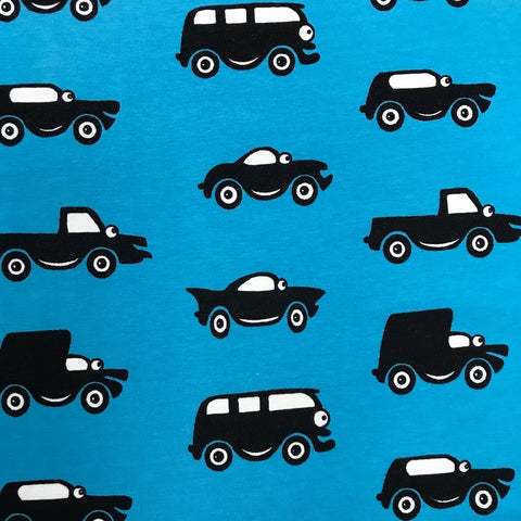Cars turquoise cotton jersey (by the half metre)