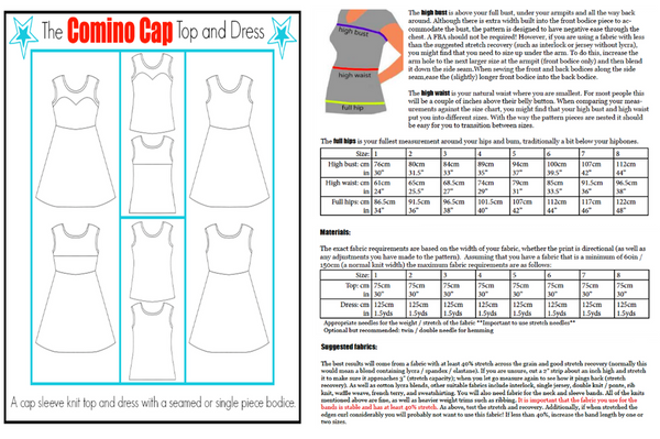 The Comino Cap dress and top sewing pattern (for teens and women)- PDF