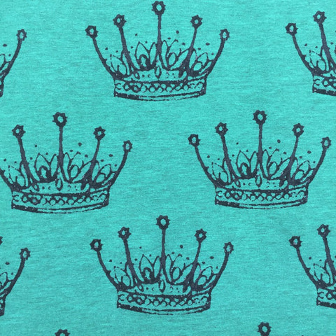 Crowns melange jade digital cotton sweatshirting (by the half metre)
