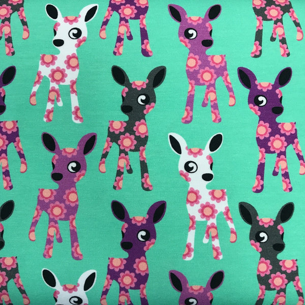 Deer mint organic cotton jersey (by the half metre)