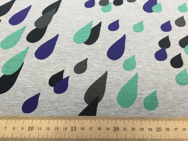 Drops melange blue mint digital cotton jersey (by the half metre)