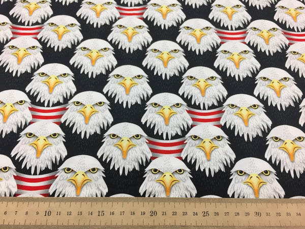 Eager Eagle white cotton jersey including panel (by the half metre)
