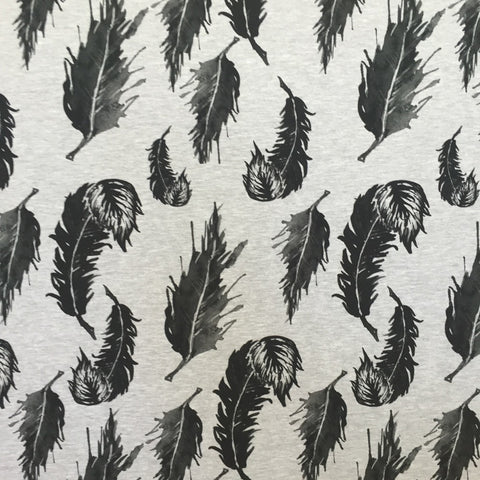Feathers melange grey digital cotton jersey (by the half metre)