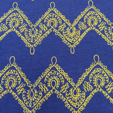 Filigree blue organic cotton jersey (by the half metre)