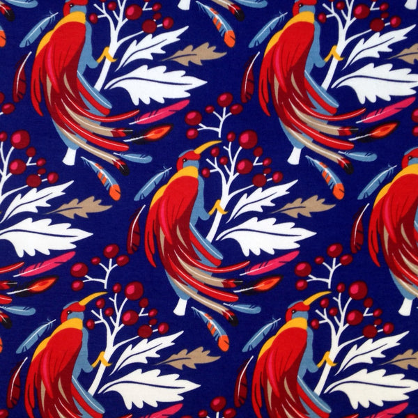 Fly Me to Paradise royal cotton jersey (by the half metre)