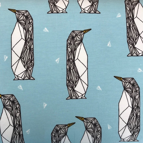 Geo Penguin Payne's Soft Blue organic cotton sweatshirting (by the half metre)