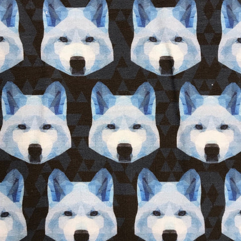 Geometric Wolf cotton sweatshirting (by the half metre)
