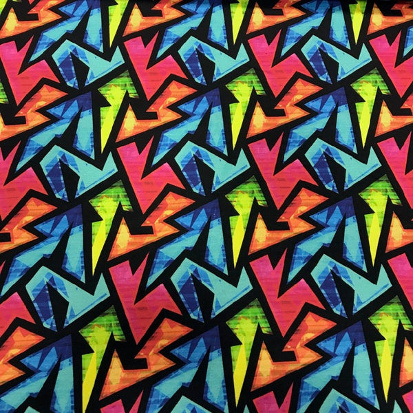 Graffiti neon cotton sweatshirting (by the half metre)