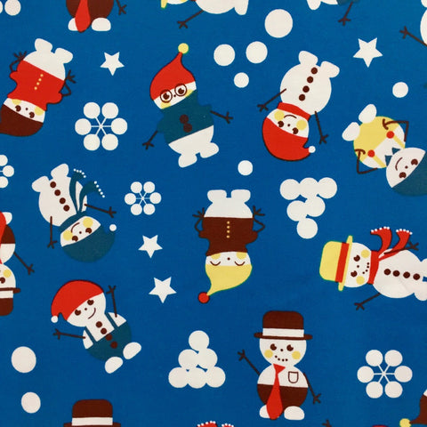 SALE Happy Snowman organic cotton jersey (by the half metre)