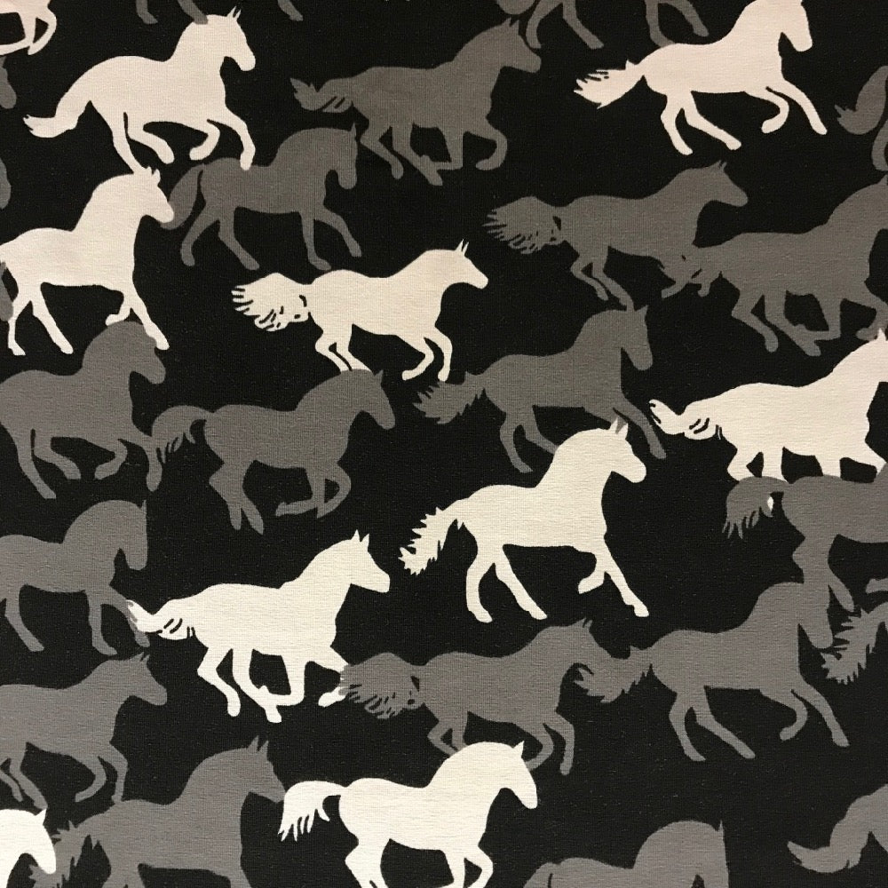 Black horses cotton jersey (by the half metre)