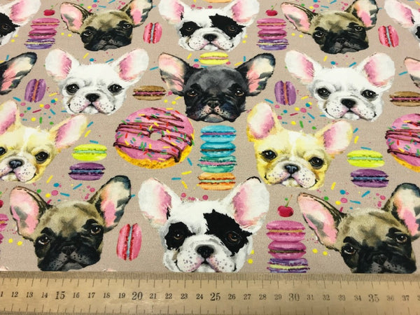 Bulldog and cookies cotton sweatshirting (by the half metre)