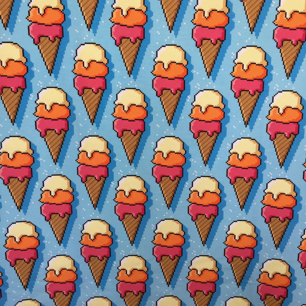 Ice Cream blue cotton jersey (by the half metre)