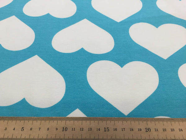 Mega heart turquoise organic cotton sweatshirting (by the half metre)