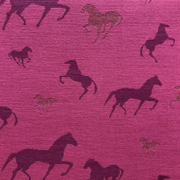 Metallic horses berry cotton jersey (by the half metre)