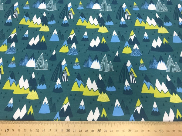 Mountains teal cotton sweatshirting (by the half metre)