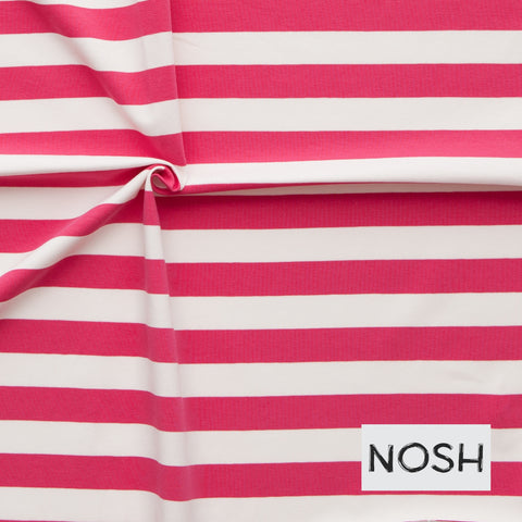 Raspberry and White 2x2 stripe organic cotton jersey (by the half metre)