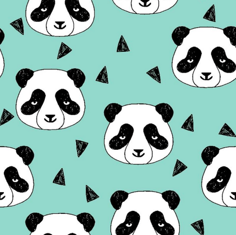 Panda pale turquoise organic cotton jersey (by the half metre)