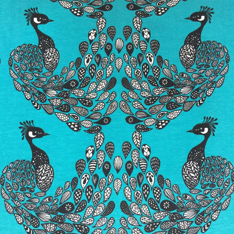 Peacock Petrol organic cotton jersey (by the half metre)
