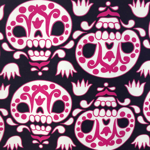 Pink Sugar Skulls organic cotton sweatshirting (by the half metre)
