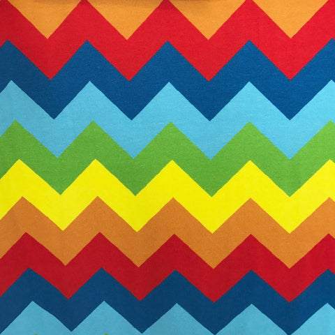 Rainbow Chevrons organic cotton jersey (by the half metre)