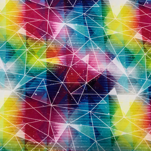 Rainbow triangles cotton sweatshirting (by the half metre)