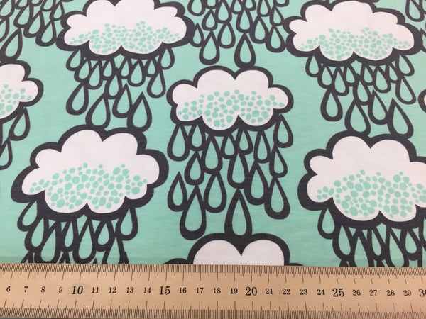 Rainclouds Mint organic cotton jersey (by the half metre)