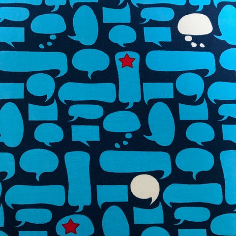 Speech bubbles blue cotton jersey (by the half metre)