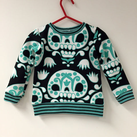Sugar Skull teal organic long sleeve sweatshirt